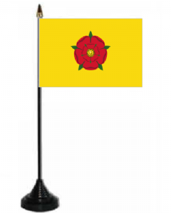 Lancashire Desk / Table Flag with plastic stand and base.